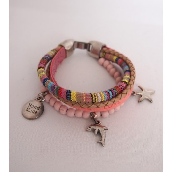 Armband Love dream smile roze